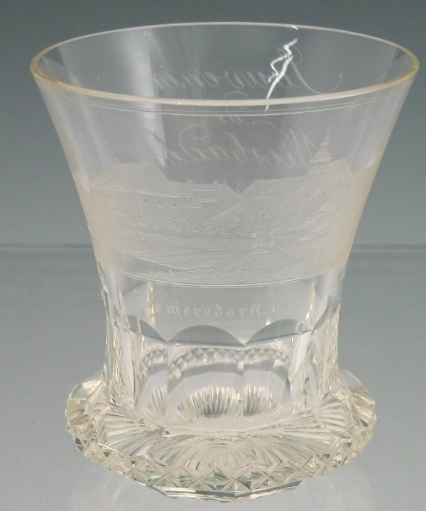 2: A mid 19th century German beaker glass, with flared