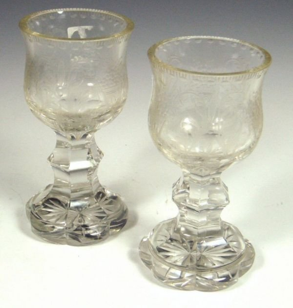 5: A pair of Victorian wine goblets,the bell shaped bow