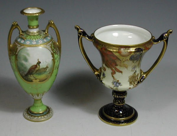 18: A Royal Crown Derby two handled vase,with stylised
