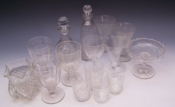 21: A set of three Victorian fluted glass rummers;a fac