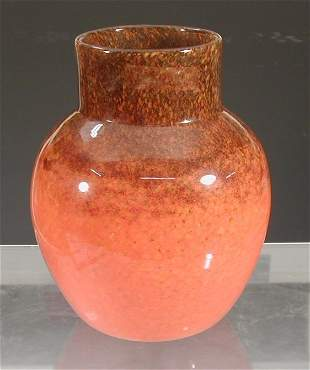 A Monart ovoid glass vase,with cylindrical