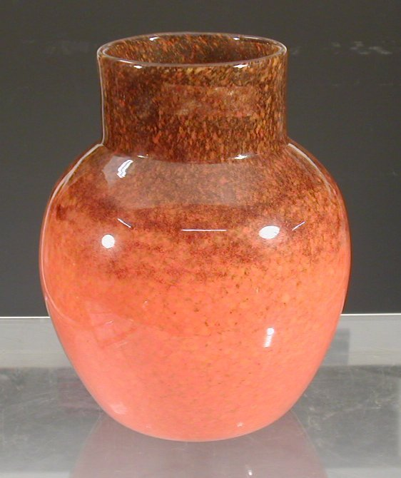 5: A Monart ovoid glass vase,with cylindrical
