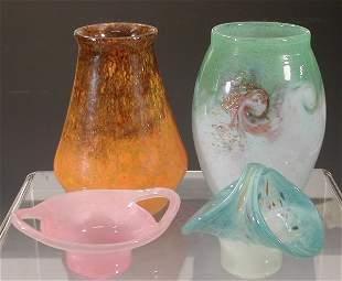 A Monart tapering glass vase,in mottled or