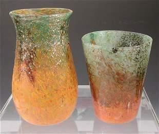 A Monart baluster glass vase,the mottled