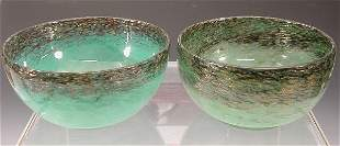 Two Monart circular glass bowls,each with