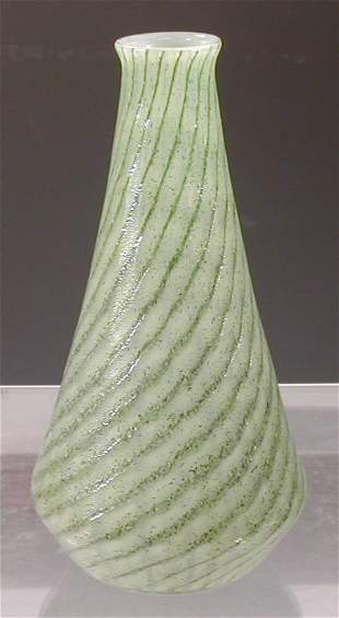 A rare Monart glass vase,of tapering cyli