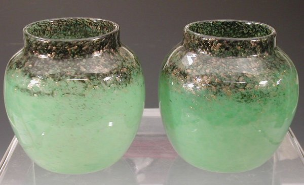 20: A pair of Monart ovoid glass vases,each h