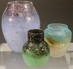 A Monart ovoid glass vase,the mottled pal