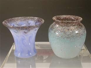 A Monart ovoid glass vase,the mottled blu