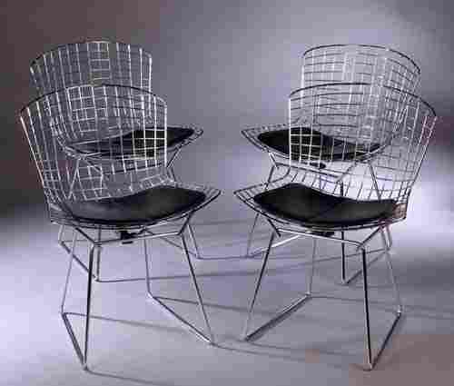 540: A set of four chromium side chairs by Ha