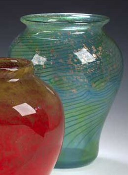 2:  A large Monart glass vase, . of baluster form with