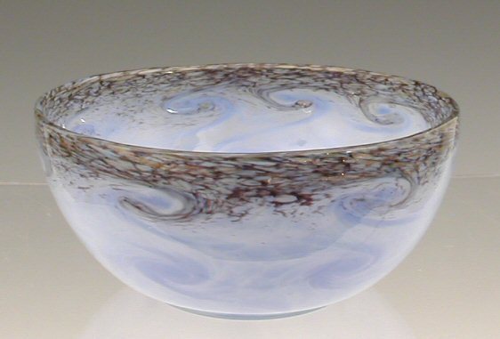 7:  A Monart glass bowl, . of circular form with mottle