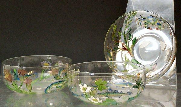 1007: Three Hannah Walton clear glass finger bowls