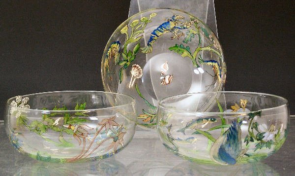 1008: Three Hannah Walton clear glass finger bowls