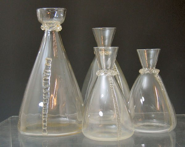 1024: Four Arts and Crafts clear glass decanters
