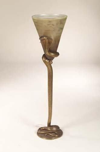 1305: Edgar Brandt,  A cast bronze serpent lamp