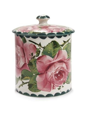 1002: A Wemyss biscuit barrel and cover, 14.5cm high