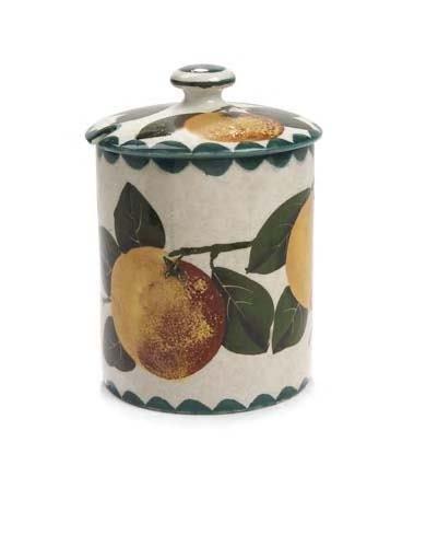 1021: A Wemyss preserve jar and cover, 12.5cm high
