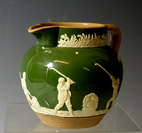 4: Golf: A Copeland Late Spode pottery jug, 11.2cm high
