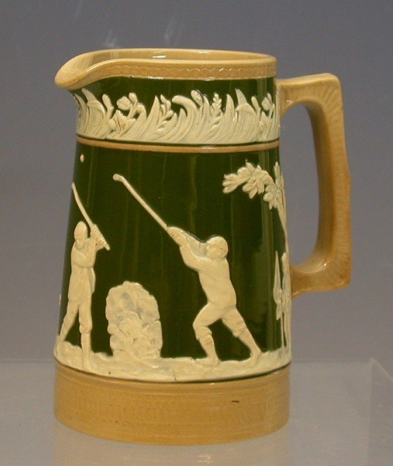 5: Golf: A Copeland Late Spode pottery milk jug, 11.1cm