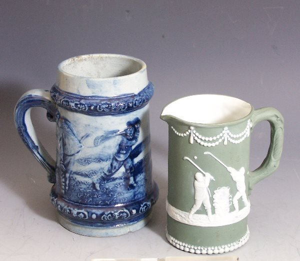 14: Golf: A Continental green jasperware golfing jug,