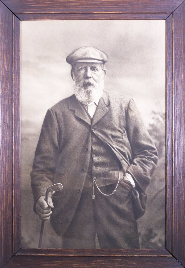 109: Golf: A framed sepia photograph of Old Tom Morris,