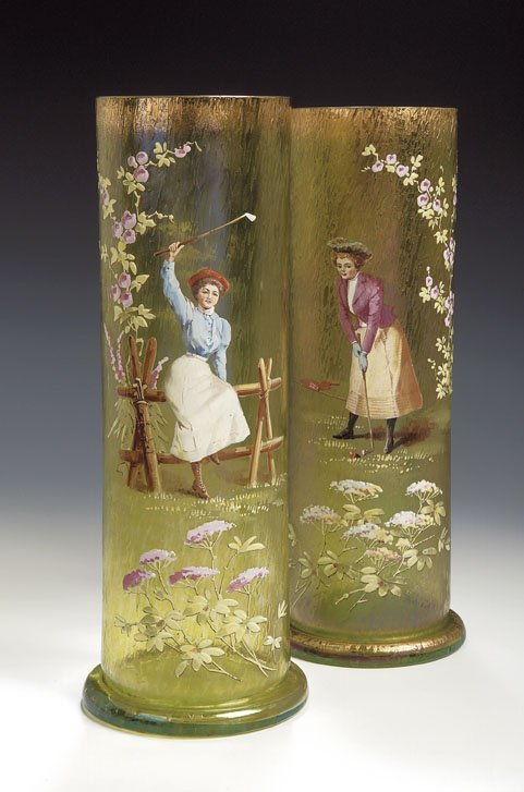 2: A pair of Bohemian glass golfing vases, of irridesce