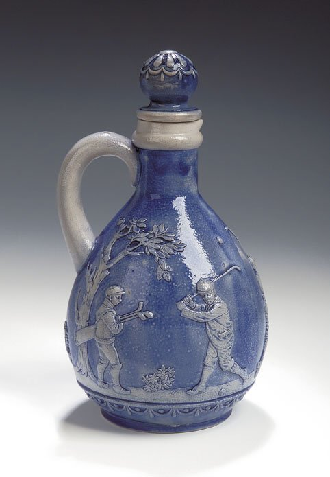 3: A Gerz salt glazed stoneware jug and stopper, of ovo