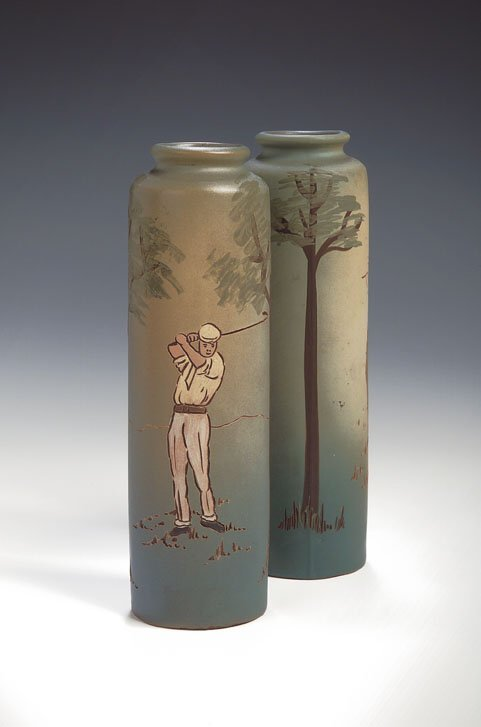 4: A pair of Weller, Dickens Ware pottery vases, of cyl