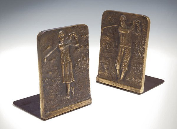5: A pair of bronze golfing bookends, relief - cast res