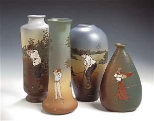 A Weller, Dickens Ware pottery vase, of flattened t