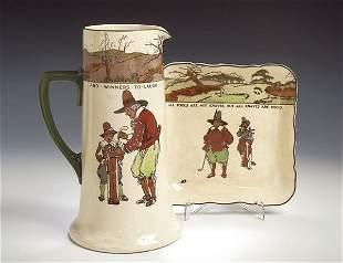 A Royal Doulton, series ware large jug, transfer pr