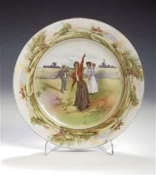 A Rudolstadt porcelain golfing plate, transfer prin