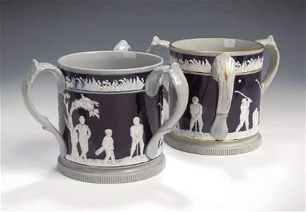 20: A Copeland pottery golfing Jug, the circular sectio