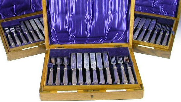 1012: A part canteen of silver cutlery, with marks for