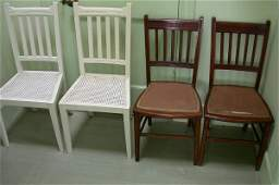 1445 A pair of Edwardian mahogany bedroom chairs and
