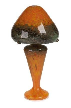 19: A Monart glass lamp and shade, 49.5cm high
