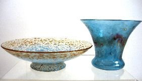 22: A Monart glass footed dish,
