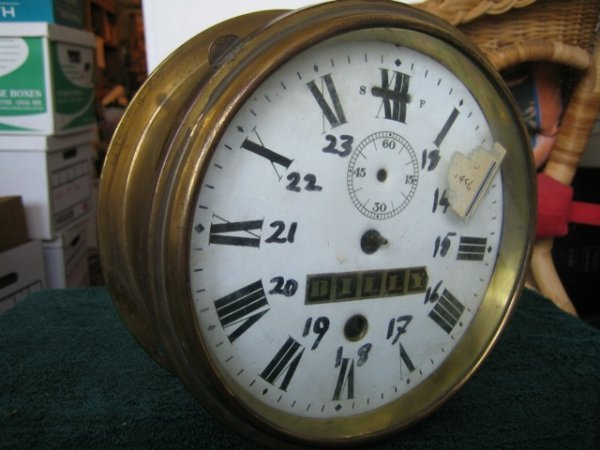 21: BRASS 'TITANIC' SHIP'S CLOCK Labeled in Billy's han