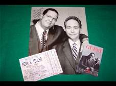 55 PENN  TELLER SIGNED  INSCRIBED PHOTOGRAPH WITH PR