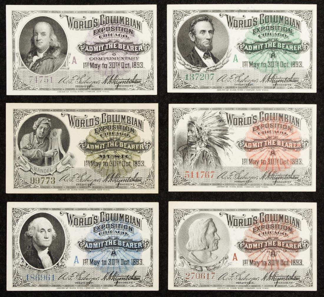 1893 Columbian Exposition Admission Tickets