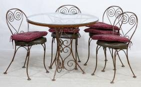 Metal and Glass Patio Table with Chairs
