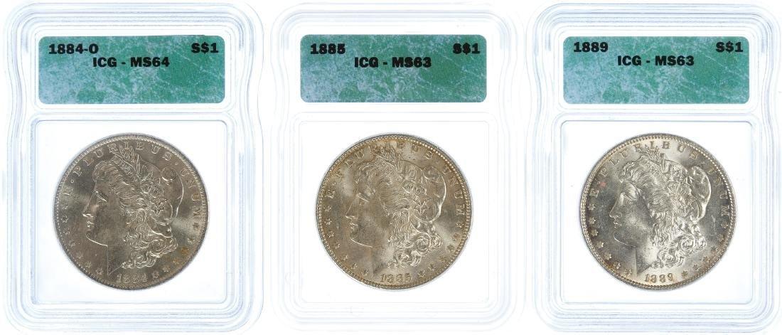 1884-O, 1885, 1889 $1 MS-64 / MS-63 ICG
