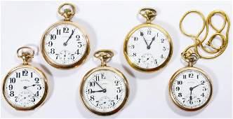 Illinois Gold Filled Open Face Pocket Watch Assortment