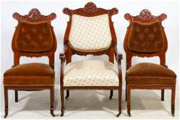 Victorian Mahogany Arm and Side Chairs