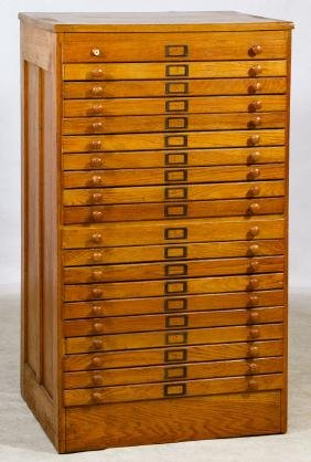 Oak Print Cabinet