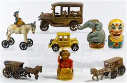 Cast Metal Toy Vehicle and Tin Bank Assortment