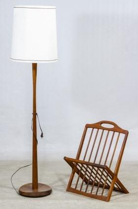 MCM Danish Teak Magazine Rack and Floor Lamp