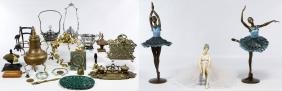 Decorative Metalware and Ballerina Statue Assortment