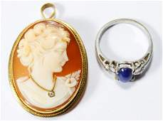 18k Gold Cameo and 14k White Gold Star Sapphire and